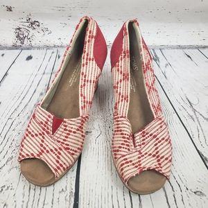 TOMS Cork Wedge Red & White Peep Toe Heels